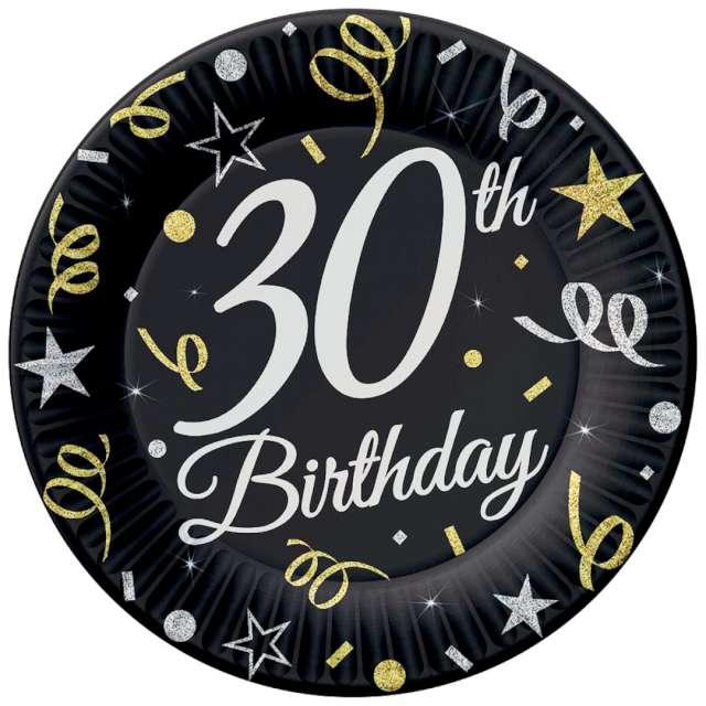 """Talerzyki papierowe """"Beauty & Charm 30-te urodziny"""", czarne, Godan, 23 cm, 6 szt"""