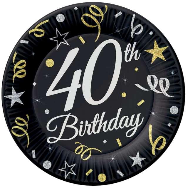 """Talerzyki papierowe """"Beauty & Charm 40-te urodziny"""", czarne, Godan, 18 cm, 8 szt"""