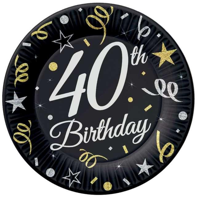 """Talerzyki papierowe """"Beauty & Charm 40-te urodziny"""", czarne, Godan, 23 cm, 6 szt"""