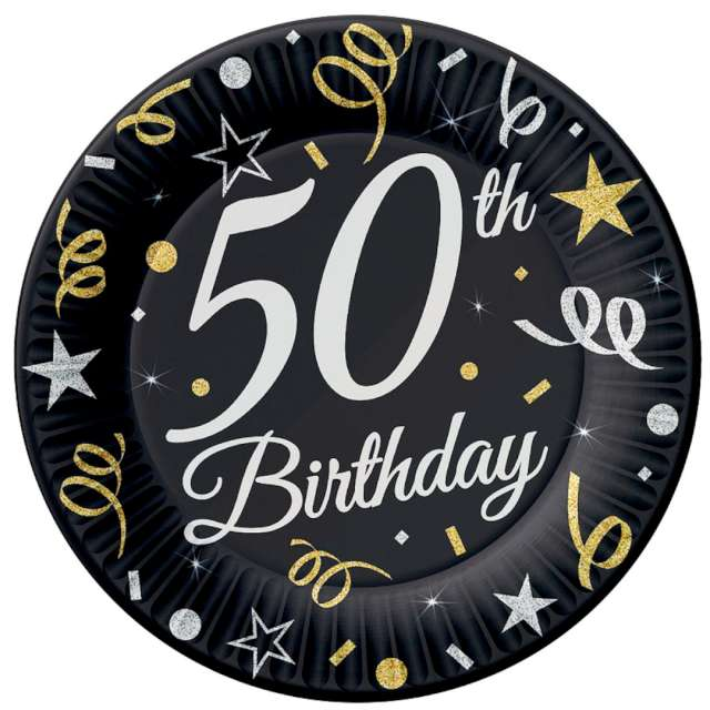 """Talerzyki papierowe """"Beauty & Charm 50-te urodziny"""", czarne, Godan, 18 cm, 8 szt"""