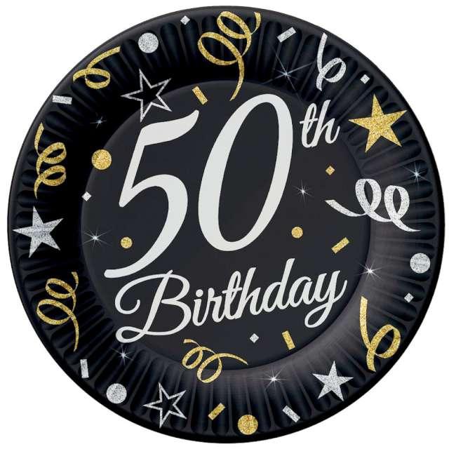 """Talerzyki papierowe """"Beauty & Charm 50-te urodziny"""", czarne, Godan, 23 cm, 6 szt"""