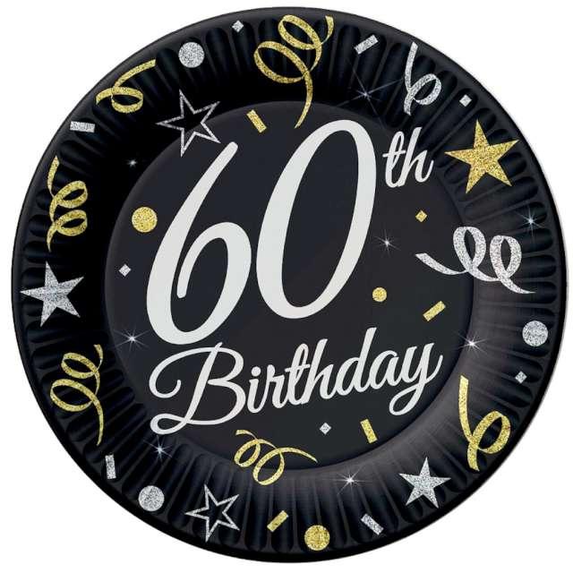 """Talerzyki papierowe """"Beauty & Charm 60-te urodziny"""", czarne, Godan, 18 cm, 8 szt"""