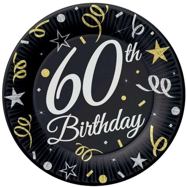 """Talerzyki papierowe """"Beauty & Charm 60-te urodziny"""", czarne, Godan, 23 cm, 6 szt"""