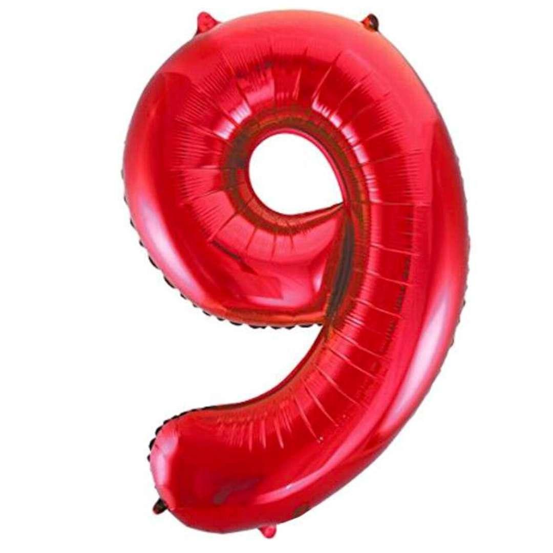 """Balon foliowy """"Urodziny - cyfra 9"""",czerwony, Partydeco, 34"""""""