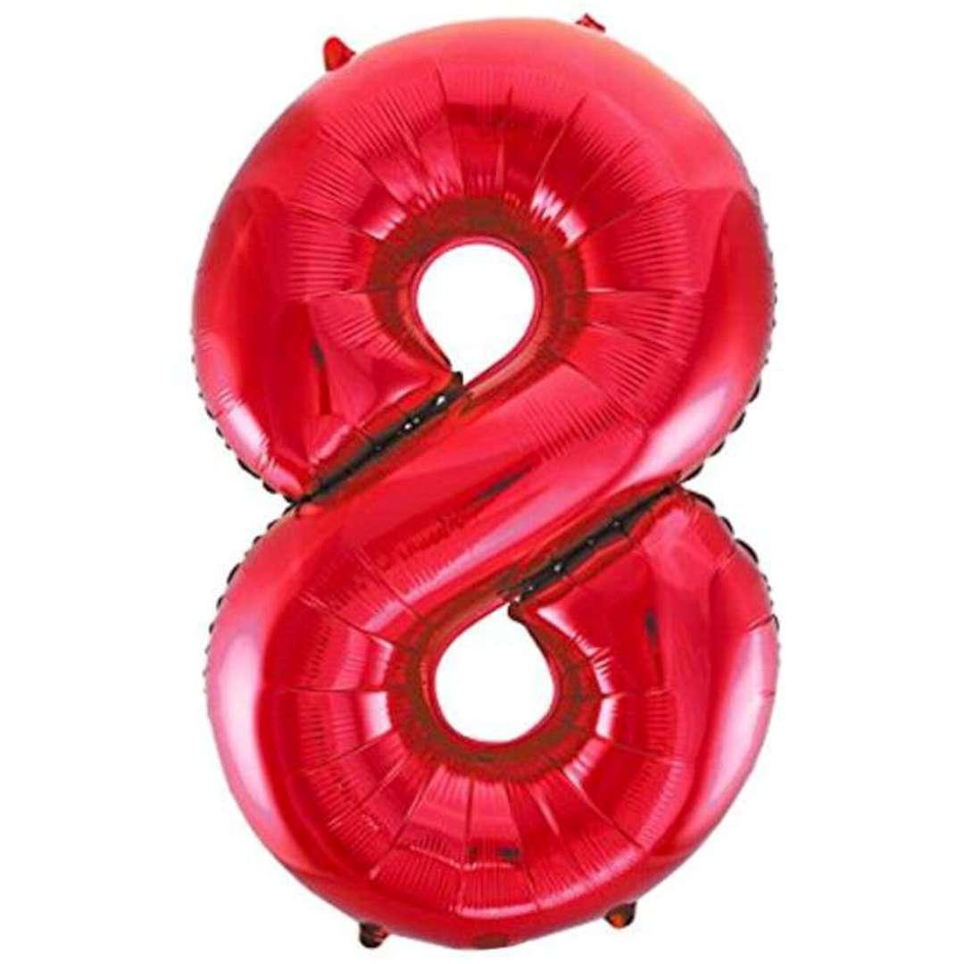 """Balon foliowy """"Urodziny - cyfra 8"""",czerwony, Partydeco, 34"""""""