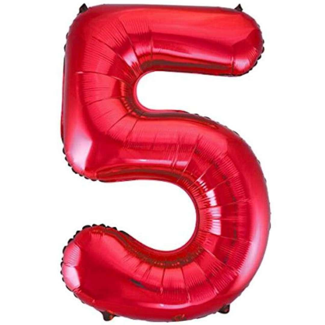 """Balon foliowy """"Urodziny - cyfra 5"""",czerwony, Partydeco, 34"""""""
