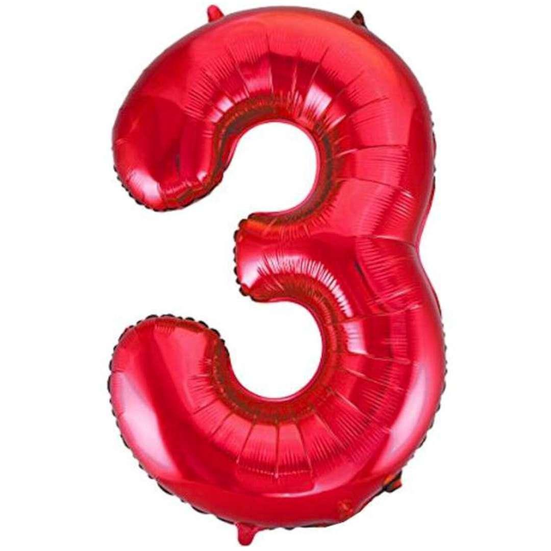 """Balon foliowy """"Urodziny - cyfra 3"""",czerwony, Partydeco, 34"""""""