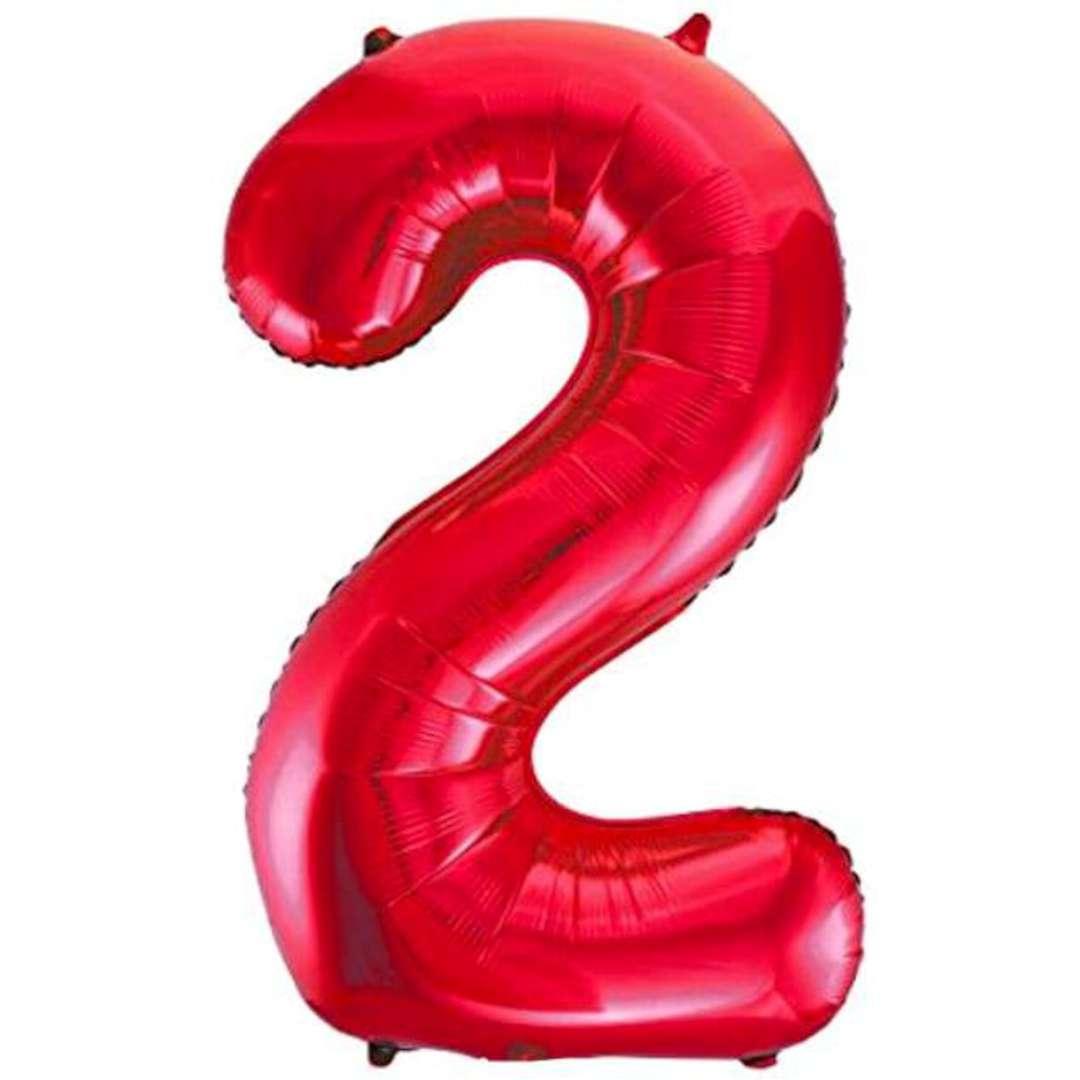 """Balon foliowy """"Urodziny - cyfra 2"""",czerwony, Partydeco, 34"""""""