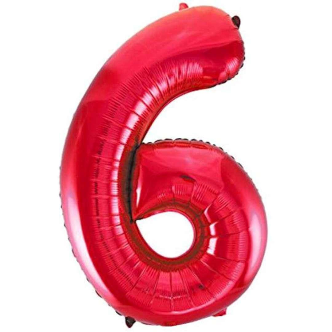 """Balon foliowy """"Urodziny - cyfra 6"""",czerwony, Partydeco, 34"""""""