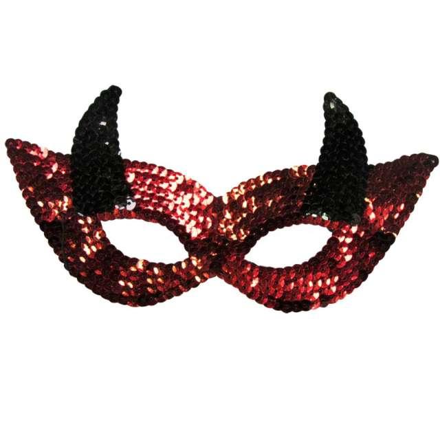 """Maska """"Diablica z rogami"""",cekinowa, Arpex"""
