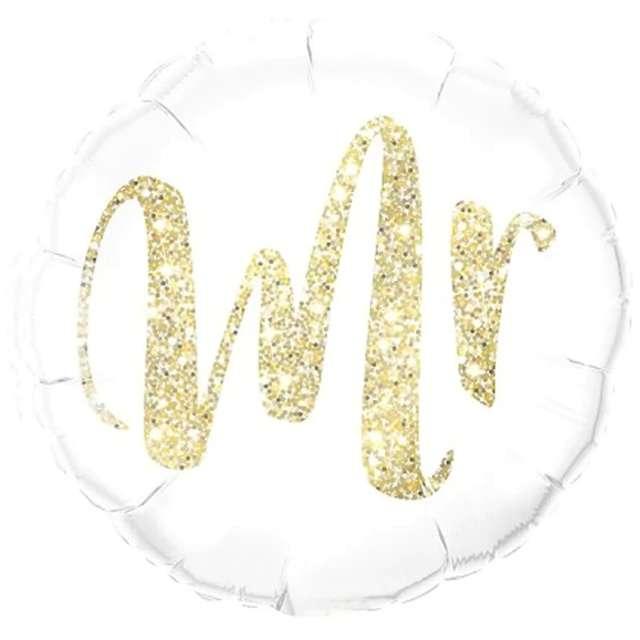 """Balon foliowy ślubny """"Mr"""", biały, PartyPal, 18"""" RND"""