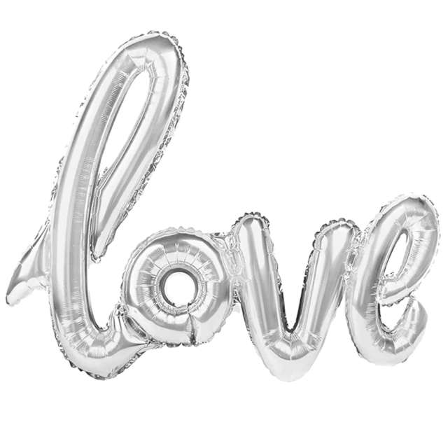 "Balon foliowy ""Love"", srebrny, PatyPal, 38"" SHP"