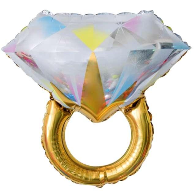 """Balon foliowy """"Pierścionek z diamentem"""", biały, PartyPal, 27"""" SHP"""