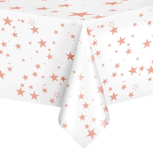 """Obrus foliowy """"Gwiazdki"""", biało-różowy, PartyPal, 137 x 274 cm"""