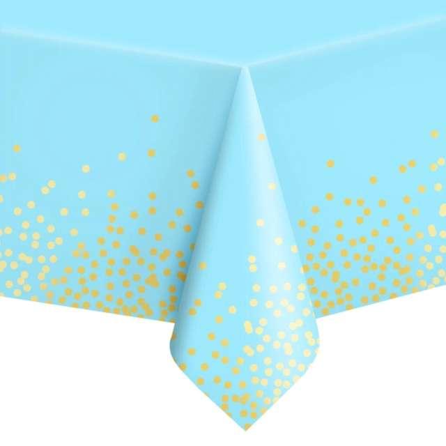 """Obrus foliowy """"Konfetti"""", niebieski, PartyPal, 137 x 274 cm"""
