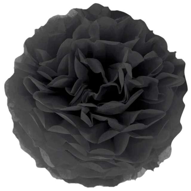 """Pompon bibułowy """"Classic"""", czarny, PartyPal, 15 cm"""