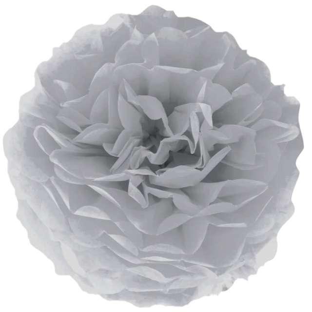 """Pompon bibułowy """"Classic"""", szaro-srebrny, PartyPal, 15 cm"""