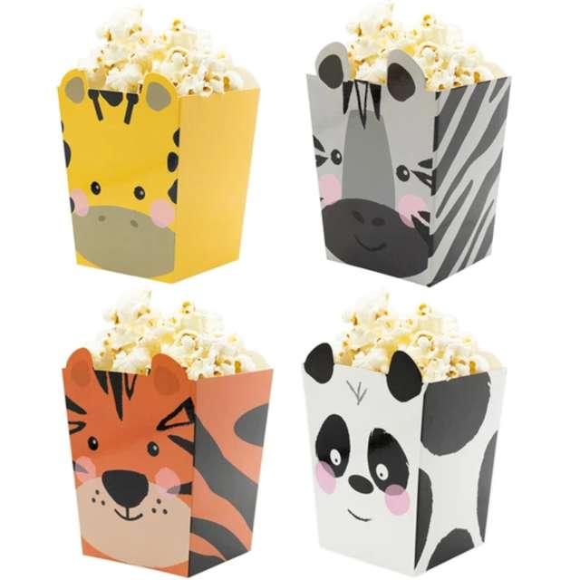 """Pudełka na popcorn """"Urodzinowe safari"""", mix, PartyPal, 4 szt"""