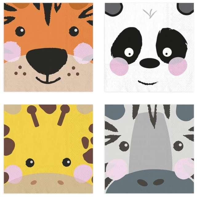 """Serwetki """"Urodzinowe safari"""", mix, PartyPal, 33 cm, 20 szt"""