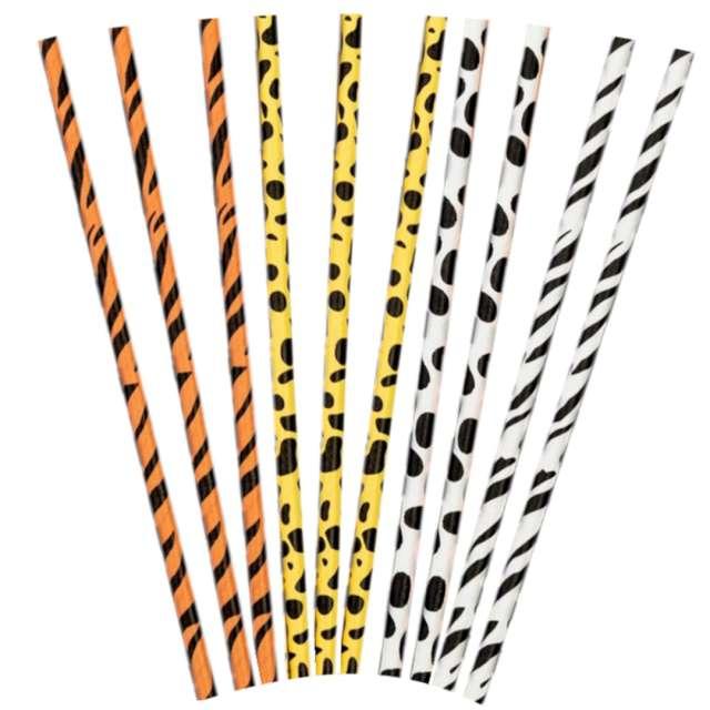 """Słomki papierowe """"Urodzinowe safari"""", mix, PartyPal, 20 cm, 10 szt"""