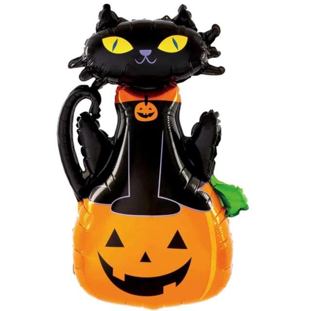 Balon foliowy  Halloween - dynia i kot  czarno-pomarańczowy PatyPal 38