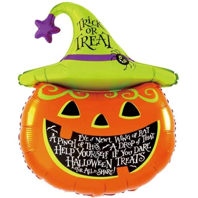 """Balon foliowy Halloween """"Dynia"""", pomarańczowo-zielony, PartyPal, 36"""" SHP"""