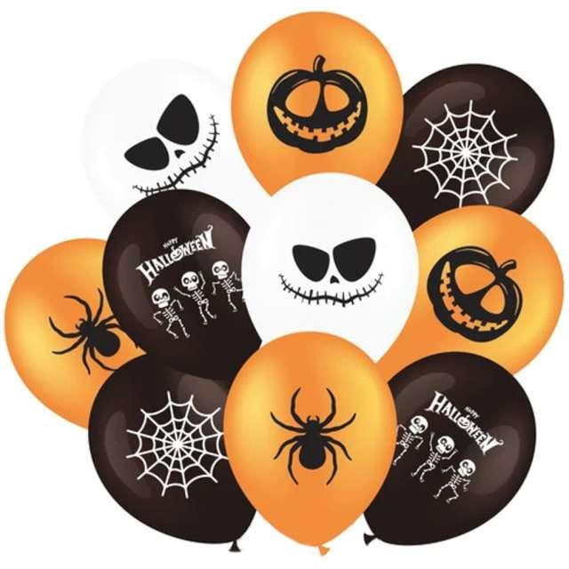 """Balony """"Halloween mix"""", biało-pomarańczowo-czarne, PartyPal, 12"""", 10 szt"""