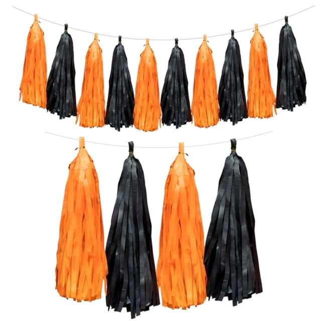 """Girlanda """"Frędzle halooween"""", pomarańczow-czarna, PartyPal"""