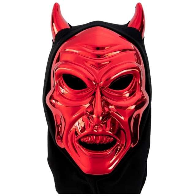 """Maska """"Demoniczny Diabeł z rogami"""", czerwona, PartyPal"""
