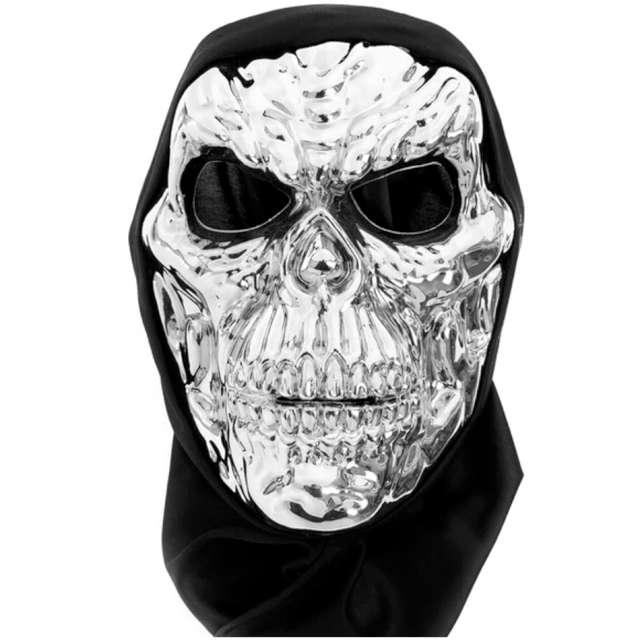 "Maska ""Czaszka - Terminator"", srebrna, PartyPal"