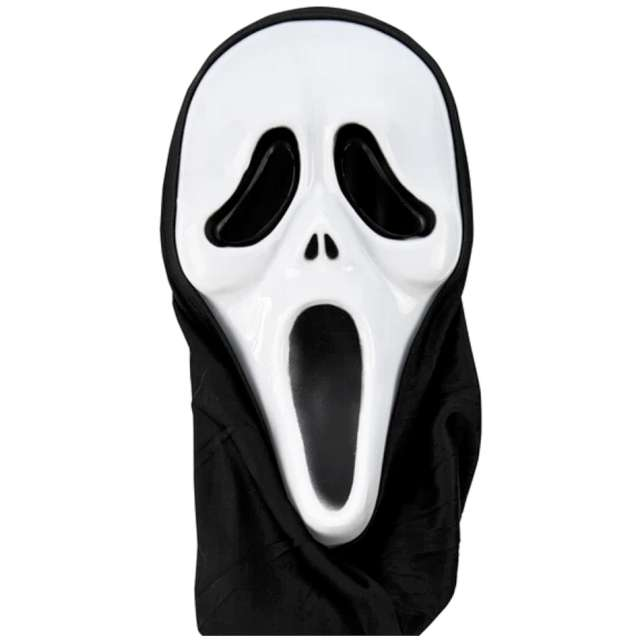 """Maska """"Krzyk z kapturem"""", biało-czarna, PartyPal"""