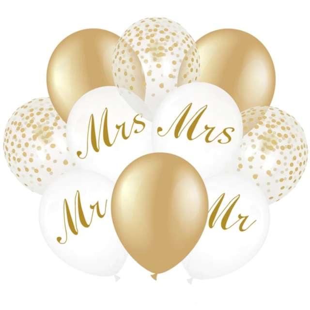 """Balony """"Ślub - zlote z konfetti"""",białe i złote, PartyDeco, 12"""""""