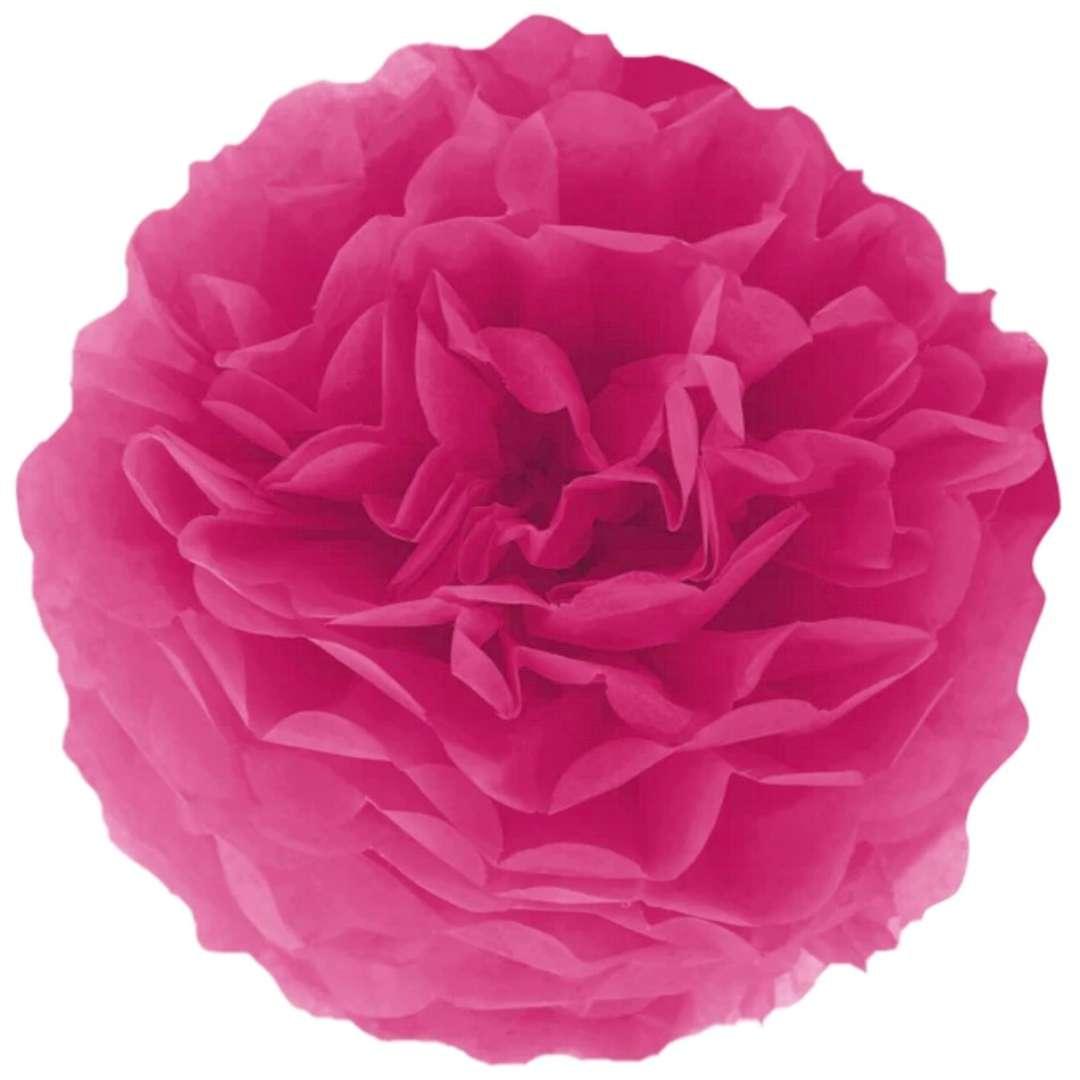 """Pompon bibułowy """"Classic"""", ciemny różowy, PartyPal, 15 cm"""