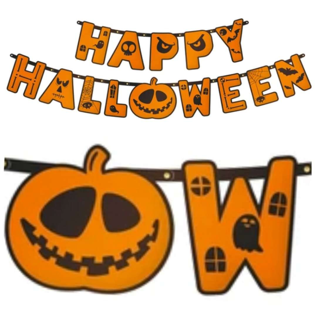"""Girlanda """"Happy Halloween"""", pomarańczowa, PartyPal, 185cm"""
