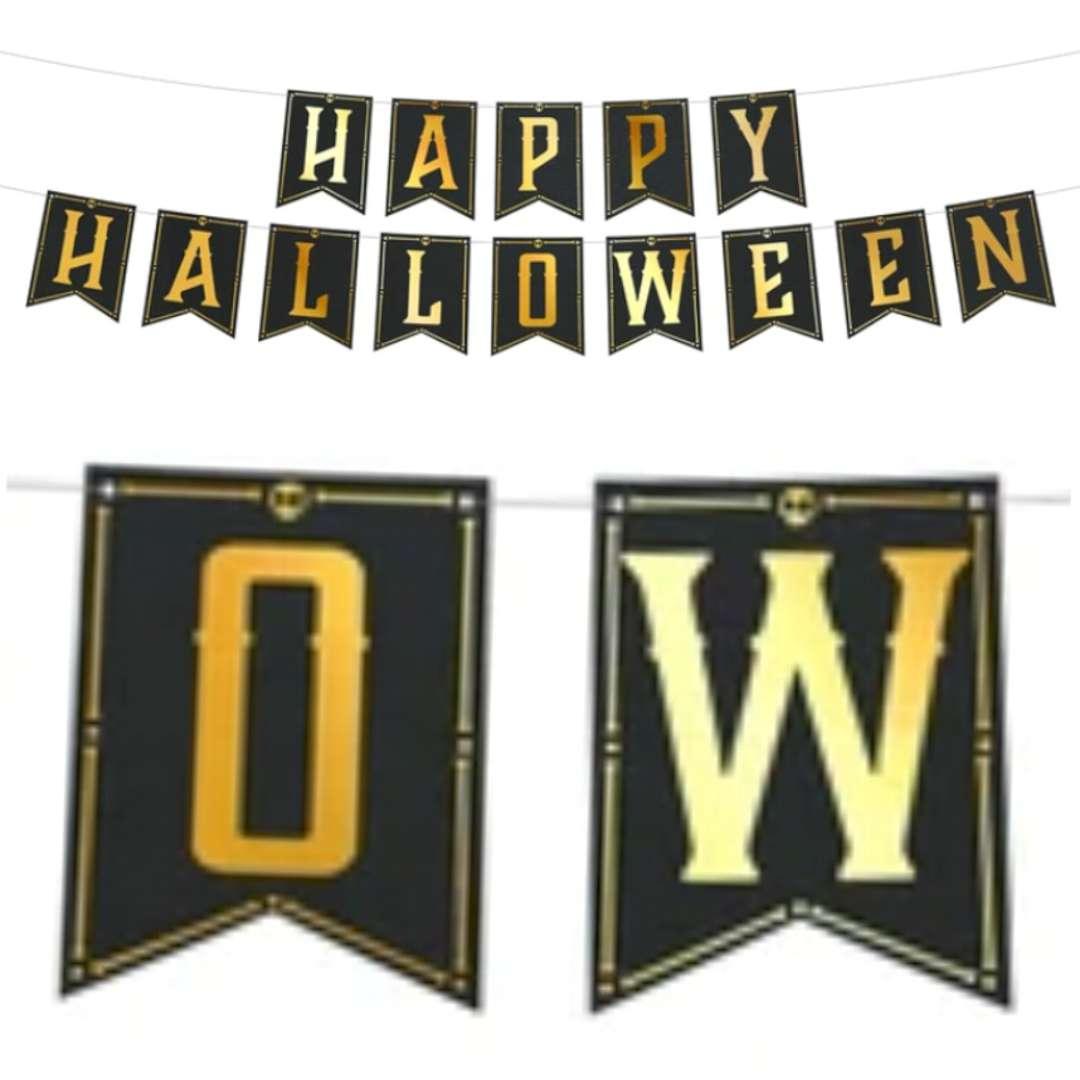 "Baner ""Happy halloween"", czarno-złoty, PartyPal, 250cm"