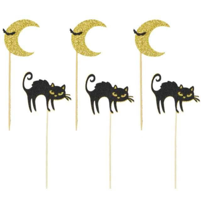 """Pikery """"Halloween - Nocne Koty"""", czarno-złote, Arpex, 6 szt"""