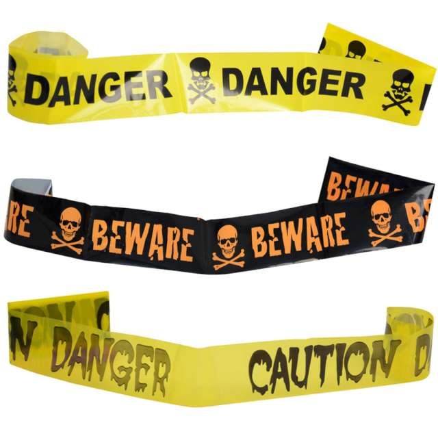 Taśma party Danger żółta Arpex 240 cm