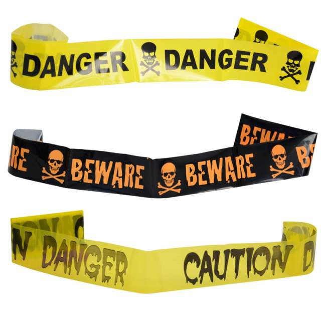Taśma party Czaszka - Danger Caution żółta Arpex 240 cm1