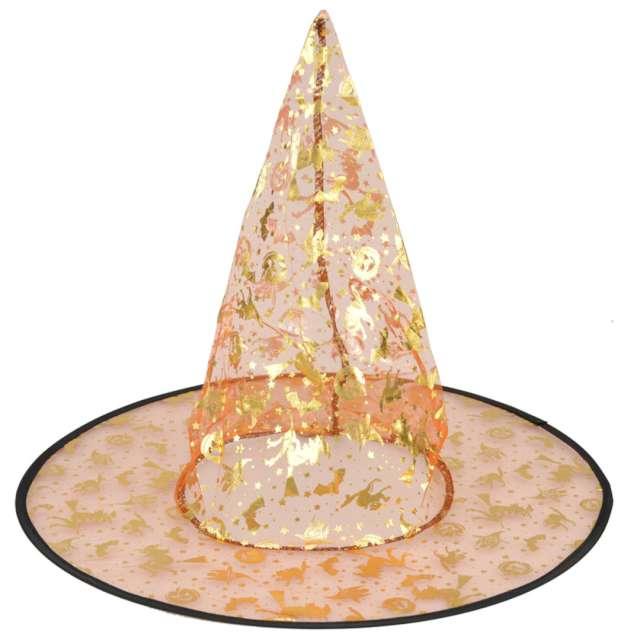 Kapelusz Czarownica - złote dynie i wiedźmy pomarańczowa Arpex