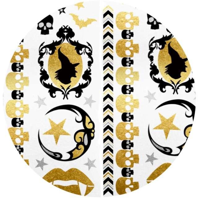 """Tatuaż wodny """"Halloween - wiedźmy i czaszki """", metalizowany, Arpex"""