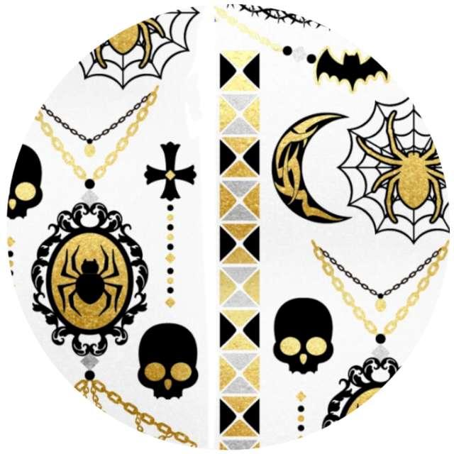 Tatuaż wodny Halloween - pająki i medaliony metalizowany Arpex