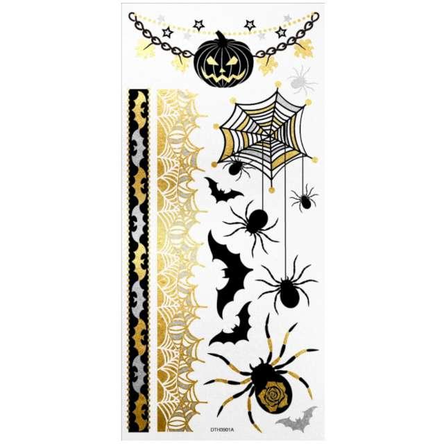 Tatuaż wodny Halloween - pająki i nietoperze metalizowany Arpex