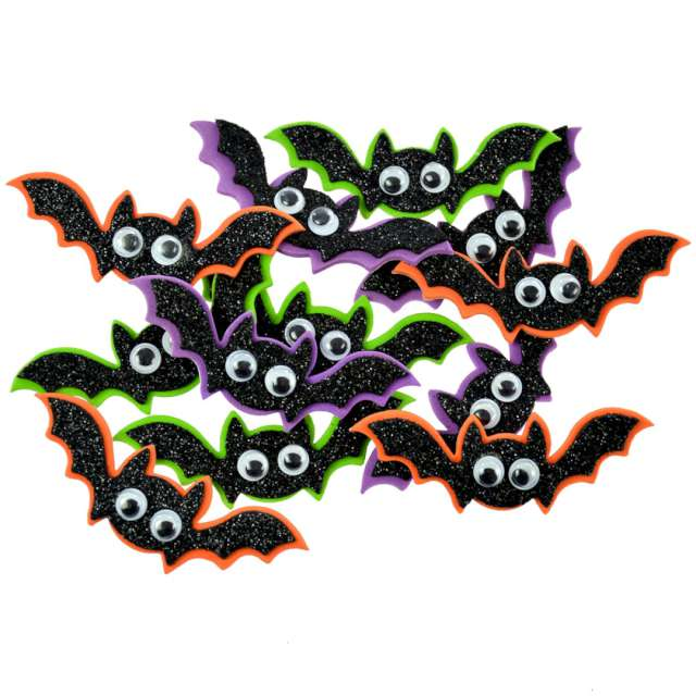 Naklejki Piankowe nietoperze- Halloween kolorowe Arpex 12 szt