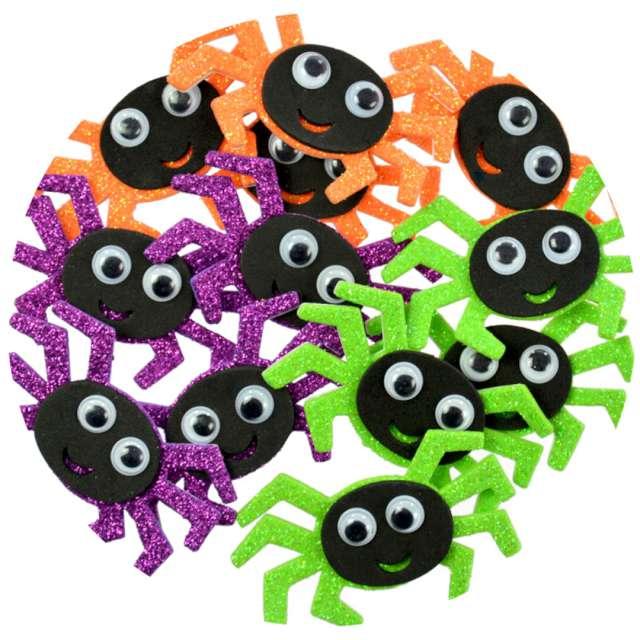 """Naklejki """"Piankowe pająki - Halloween"""", kolorowe, Arpex, 12 szt"""