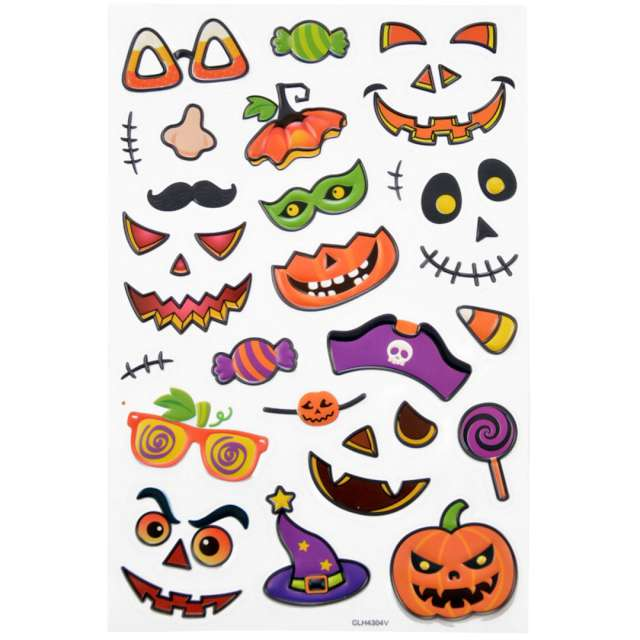 Naklejki Halloween - dynie o złych minach mix Arpex