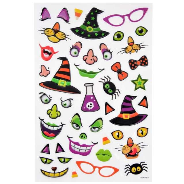 Naklejki Halloween - twarze czarownic i kotów mix Arpex