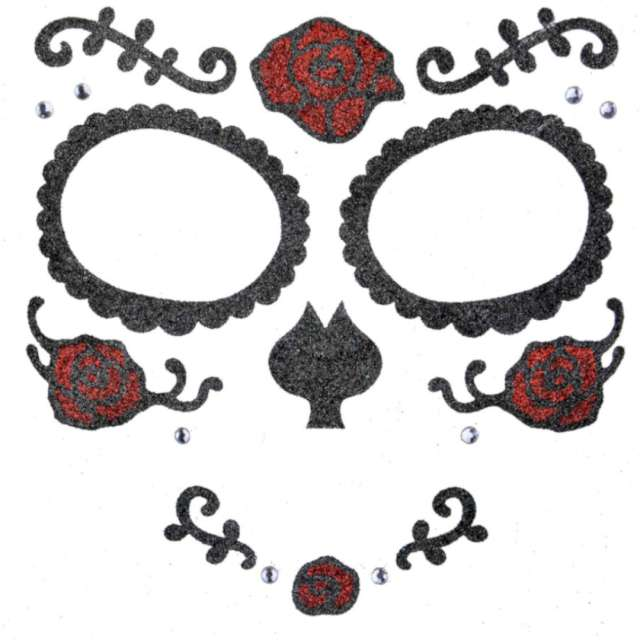 """Make-up party """"Naklejki na twarz Los Mueros"""", czarno-czerwone, Arpex"""