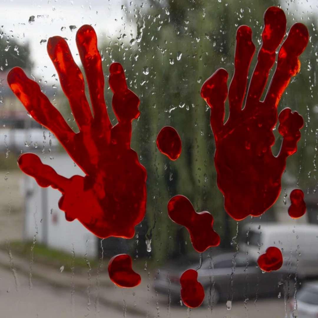 Naklejki na szybę Krwawe ślady - para rąk PartyPal