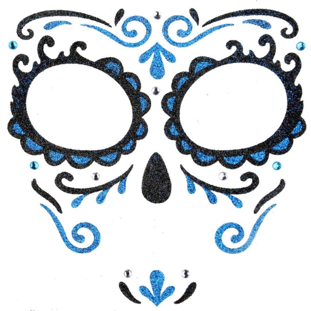 """Make-up party """"Naklejki na twarz Los Mueros"""", czarno-niebieskie, Arpex"""