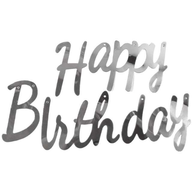 """Baner """"Happy Birthday"""", srebrny, Jix"""